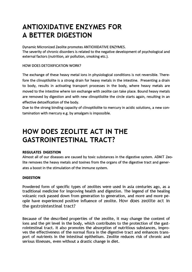 antioxidative enzymes for a better digestion. how does zeolite act in the gastroinestinal tract